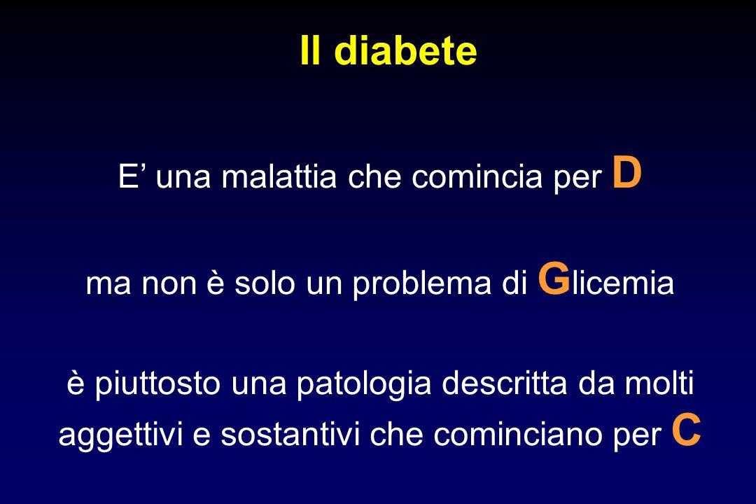 Il diabete ma non è solo un problema di G licemia è piuttosto una patologia descritta da molti aggettivi e sostantivi che cominciano per C E una malat