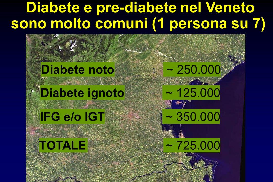 Diabete noto ~ 250.000 Diabete ignoto ~ 125.000 TOTALE~ 725.000 Diabete e pre-diabete nel Veneto sono molto comuni (1 persona su 7) IFG e/o IGT ~ 350.