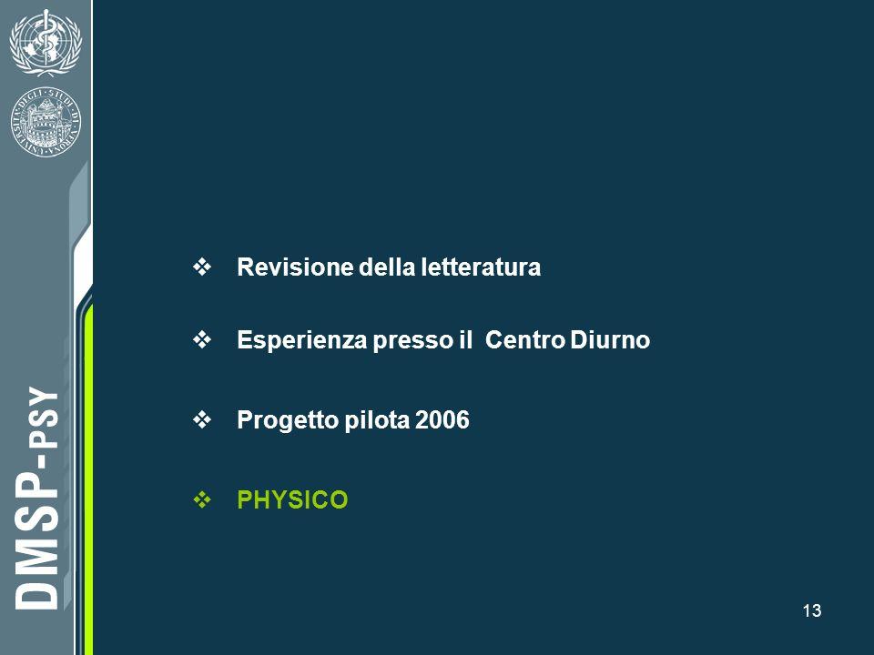 13 Revisione della letteratura Esperienza presso il Centro Diurno Progetto pilota 2006 PHYSICO