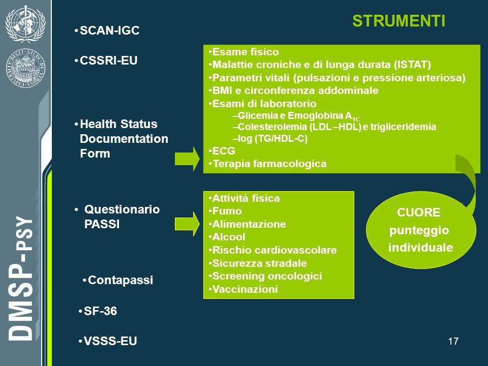 17 VSSS-EU STRUMENTI SCAN-IGC SF-36 Questionario PASSI Health Status Documentation Form Esame fisico Malattie croniche e di lunga durata (ISTAT) Param