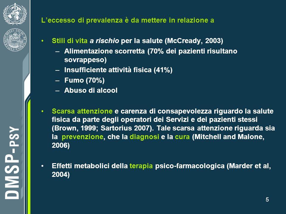 5 Leccesso di prevalenza è da mettere in relazione a Stili di vita a rischio per la salute (McCready, 2003) –Alimentazione scorretta (70% dei pazienti
