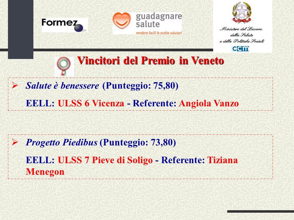 Vincitori del Premio in Veneto Progetto Piedibus (Punteggio: 73,80) EELL: ULSS 7 Pieve di Soligo - Referente: Tiziana Menegon Salute è benessere (Punteggio: 75,80) EELL: ULSS 6 Vicenza - Referente: Angiola Vanzo