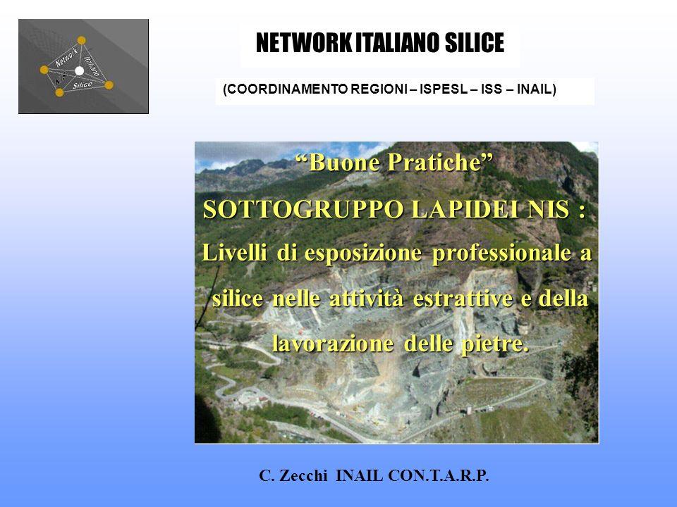 C. Zecchi INAIL CON.T.A.R.P. (COORDINAMENTO REGIONI – ISPESL – ISS – INAIL) NETWORK ITALIANO SILICE Buone Pratiche SOTTOGRUPPO LAPIDEI NIS : SOTTOGRUP