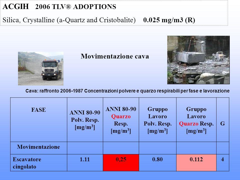 Cava: raffronto 2006-1987 Concentrazioni polvere e quarzo respirabili per fase e lavorazione FASE ANNI 80-90 Polv. Resp. [mg/m 3 ] ANNI 80-90 Quarzo R