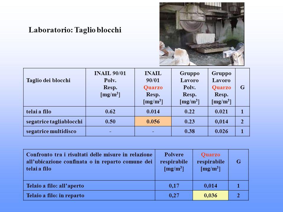 Laboratorio: Taglio blocchi Taglio dei blocchi INAIL 90/01 Polv. Resp. [mg/m 3 ] INAIL 90/01 Quarzo Resp. [mg/m 3 ] Gruppo Lavoro Polv. Resp. [mg/m 3