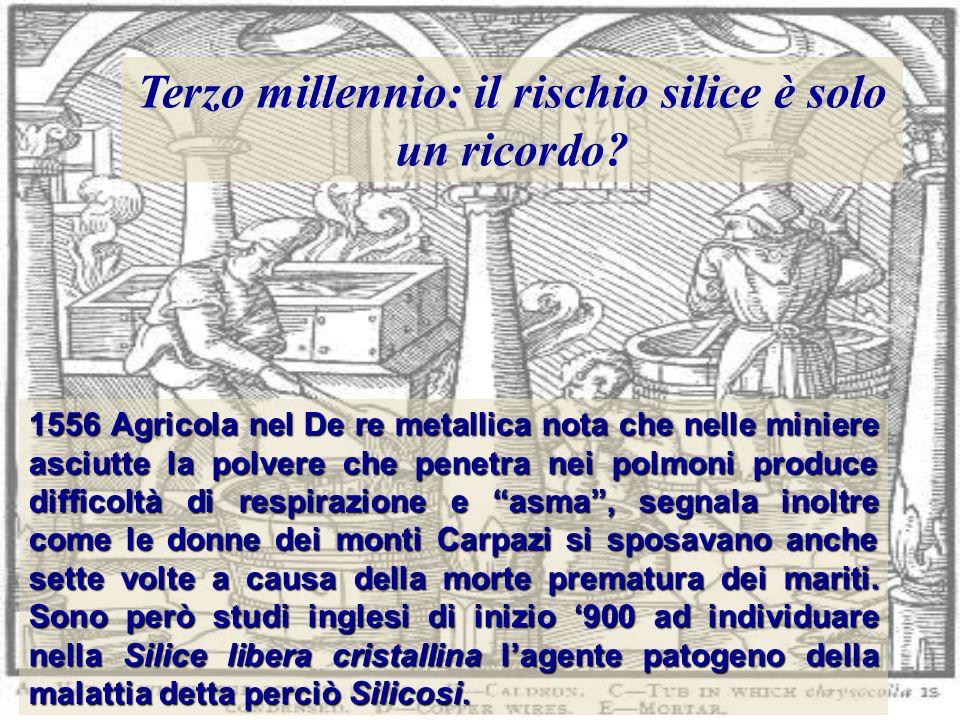 1556 Agricola nel De re metallica nota che nelle miniere asciutte la polvere che penetra nei polmoni produce difficoltà di respirazione e asma, segnal