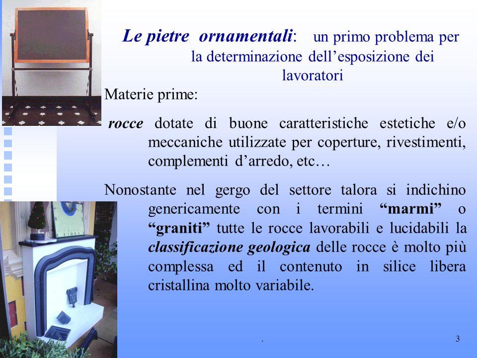 .3 Le pietre ornamentali: un primo problema per la determinazione dellesposizione dei lavoratori Materie prime: rocce dotate di buone caratteristiche