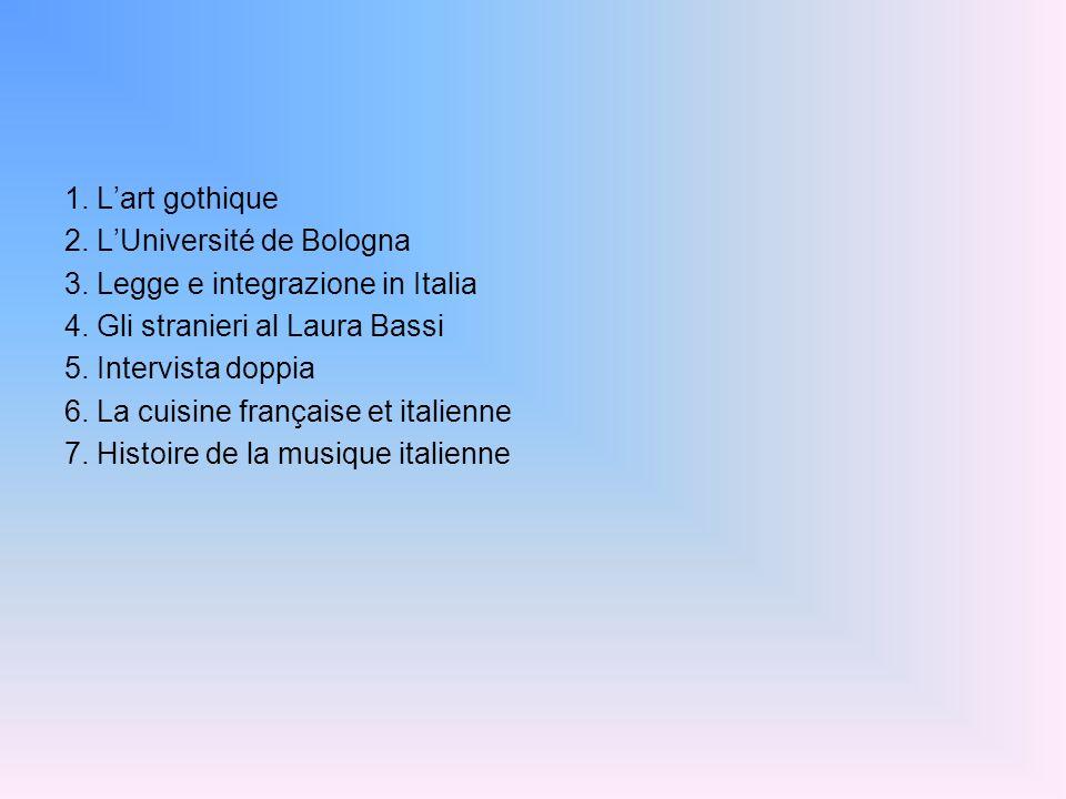 1. Lart gothique 2. LUniversité de Bologna 3. Legge e integrazione in Italia 4. Gli stranieri al Laura Bassi 5. Intervista doppia 6. La cuisine frança
