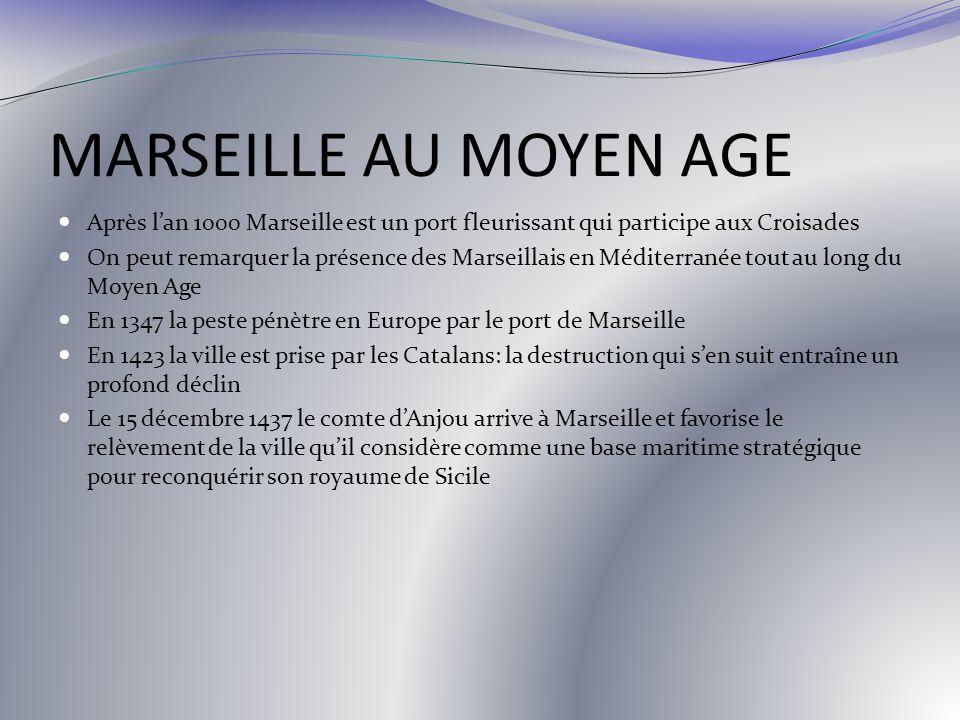 MARSEILLE AU MOYEN AGE Après lan 1000 Marseille est un port fleurissant qui participe aux Croisades On peut remarquer la présence des Marseillais en M