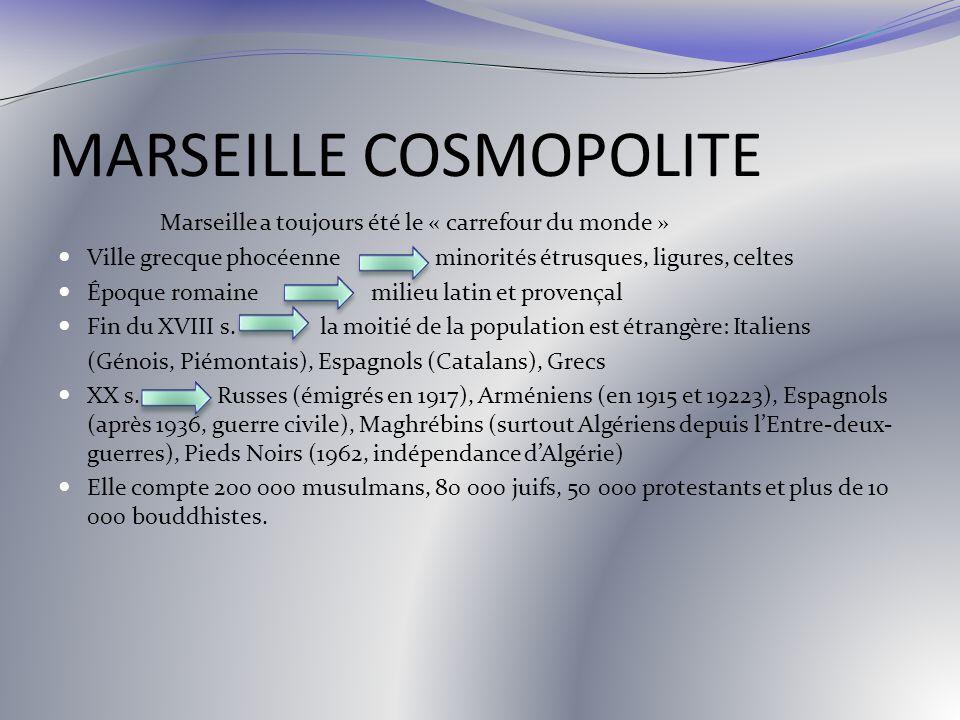 MARSEILLE COSMOPOLITE Marseille a toujours été le « carrefour du monde » Ville grecque phocéenne minorités étrusques, ligures, celtes Époque romaine m