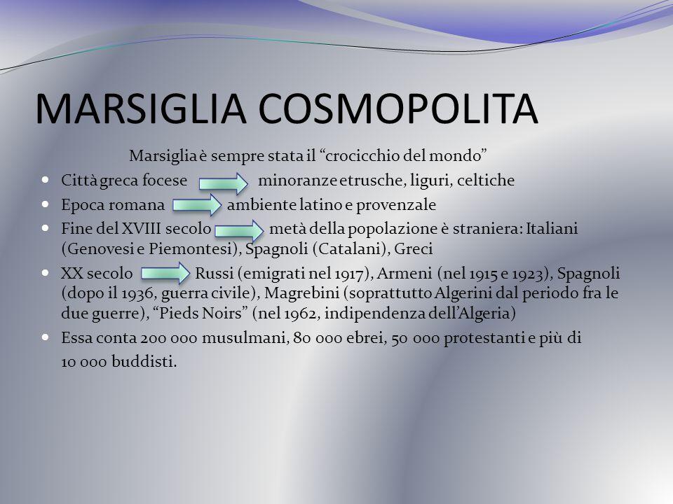 MARSIGLIA COSMOPOLITA Marsiglia è sempre stata il crocicchio del mondo Città greca focese minoranze etrusche, liguri, celtiche Epoca romana ambiente l