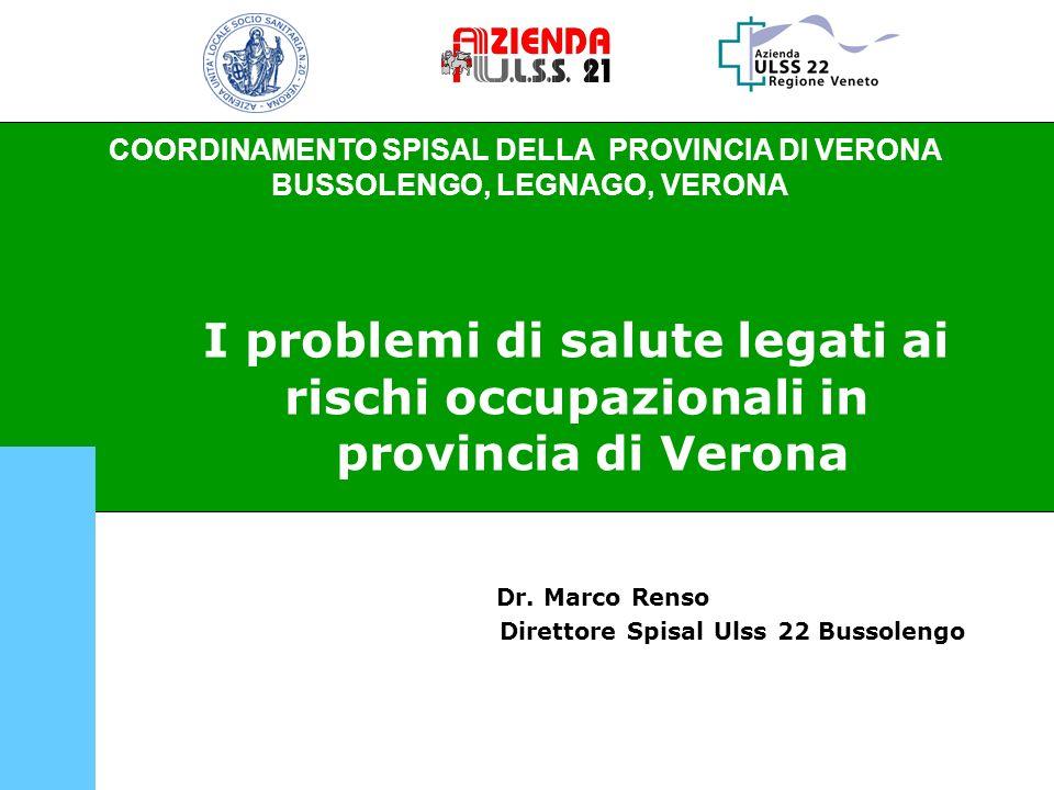 COORDINAMENTO SPISAL DELLA PROVINCIA DI VERONA - BUSSOLENGO, LEGNAGO, VERONA Trend dei mesoteliomi segnalati agli SPISAL della provincia di Verona dal 2000 al 2008.