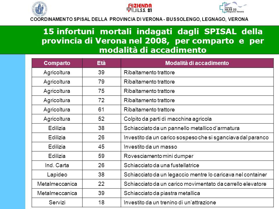 COORDINAMENTO SPISAL DELLA PROVINCIA DI VERONA - BUSSOLENGO, LEGNAGO, VERONA 15 infortuni mortali indagati dagli SPISAL della provincia di Verona nel