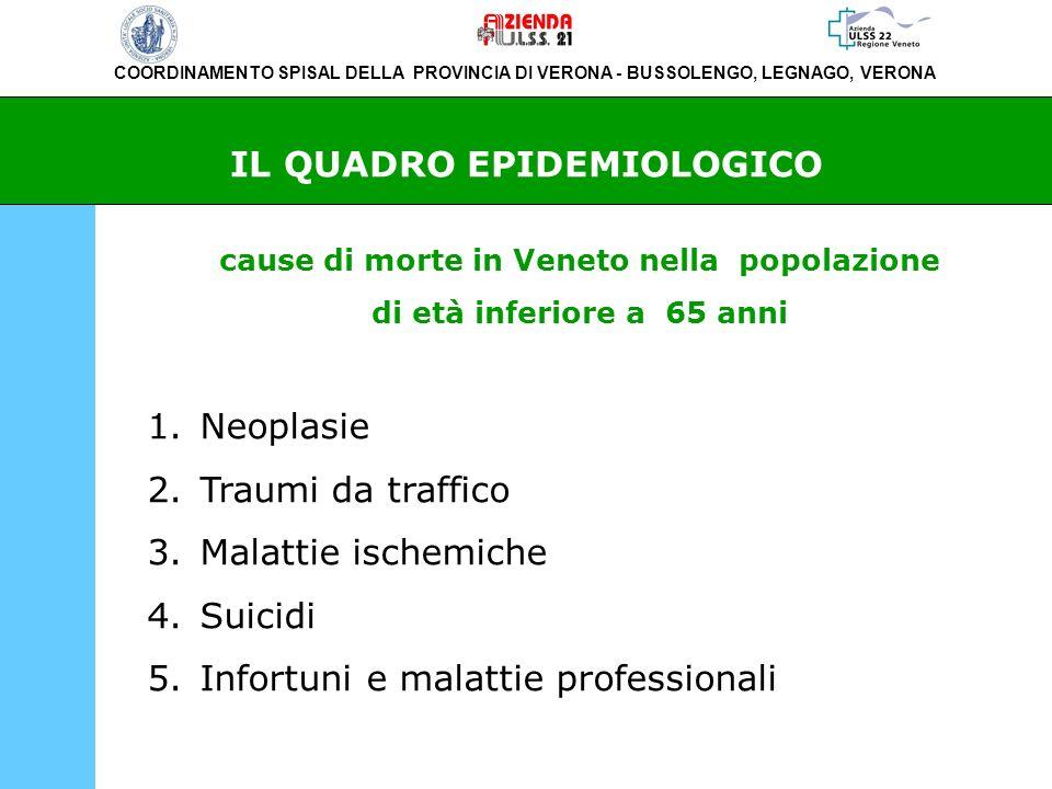 COORDINAMENTO SPISAL DELLA PROVINCIA DI VERONA - BUSSOLENGO, LEGNAGO, VERONA IL QUADRO EPIDEMIOLOGICO cause di morte in Veneto nella popolazione di et