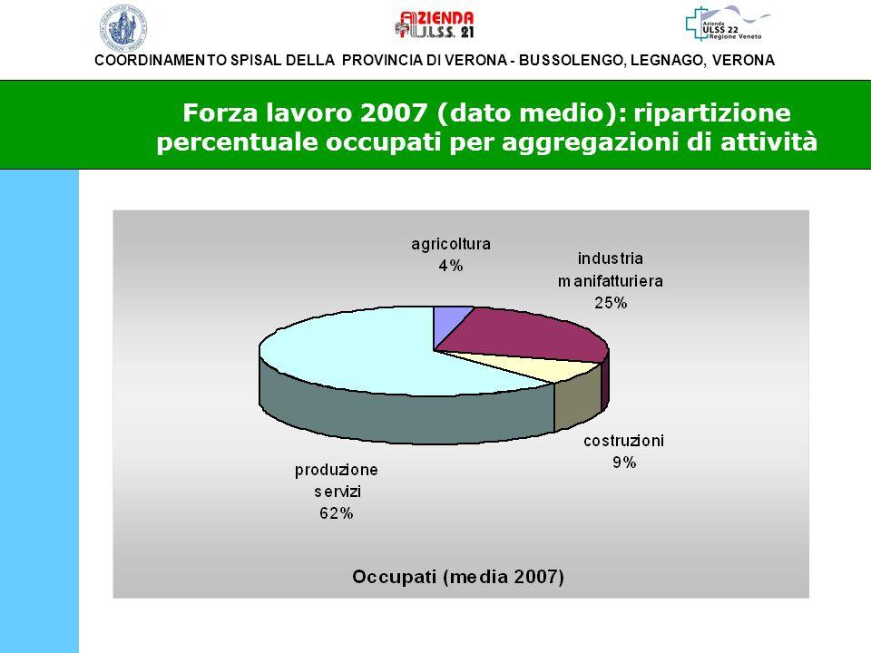 COORDINAMENTO SPISAL DELLA PROVINCIA DI VERONA - BUSSOLENGO, LEGNAGO, VERONA Forza lavoro 2007 (dato medio): ripartizione percentuale occupati per agg