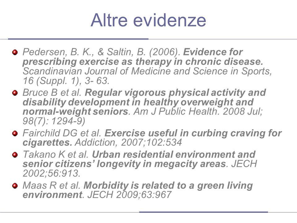 Altre evidenze Pedersen, B. K., & Saltin, B. (2006). Evidence for prescribing exercise as therapy in chronic disease. Scandinavian Journal of Medicine