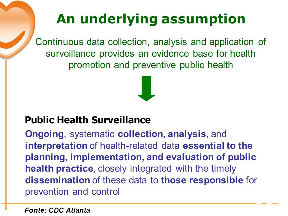 An underlying assumption Continuous data collection, analysis and application of surveillance provides an evidence base for health promotion and preve