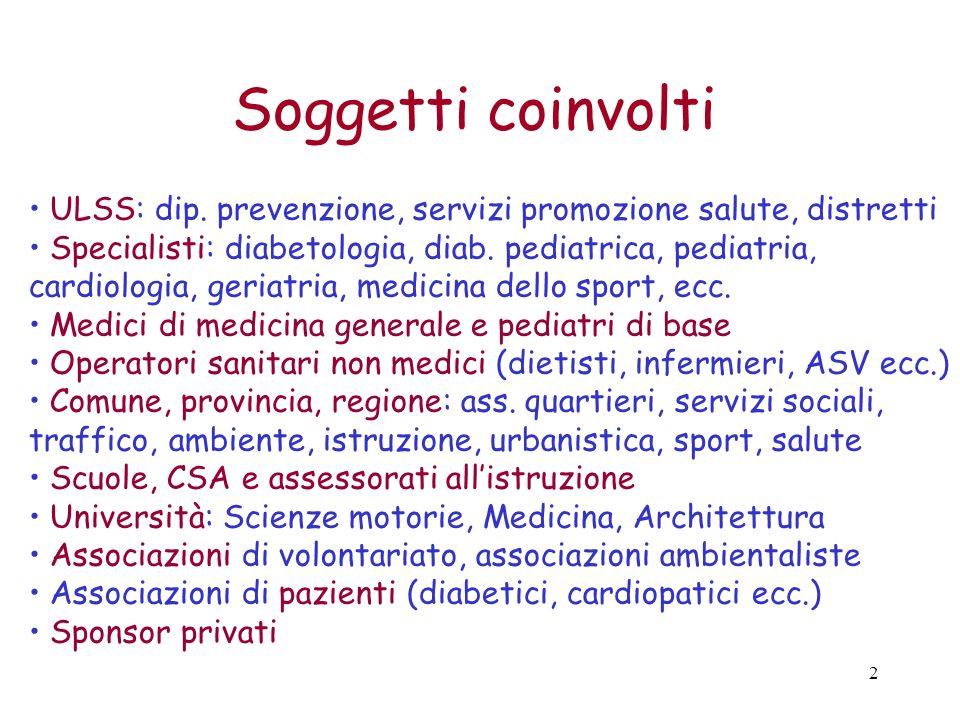 2 ULSS: dip. prevenzione, servizi promozione salute, distretti Specialisti: diabetologia, diab. pediatrica, pediatria, cardiologia, geriatria, medicin