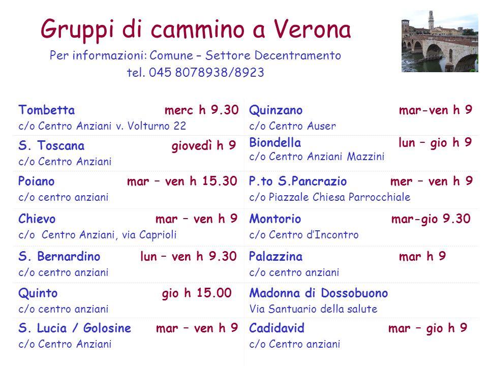 Gruppi di cammino a Verona 7 Tombetta merc h 9.30 c/o Centro Anziani v. Volturno 22 Quinzano mar-ven h 9 c/o Centro Auser S. Toscana giovedì h 9 c/o C
