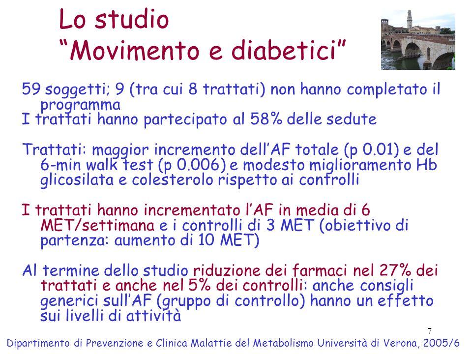 7 Lo studio Movimento e diabetici 59 soggetti; 9 (tra cui 8 trattati) non hanno completato il programma I trattati hanno partecipato al 58% delle sedu