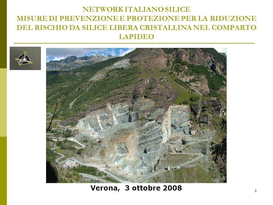 1 NETWORK ITALIANO SILICE MISURE DI PREVENZIONE E PROTEZIONE PER LA RIDUZIONE DEL RISCHIO DA SILICE LIBERA CRISTALLINA NEL COMPARTO LAPIDEO Verona, 3