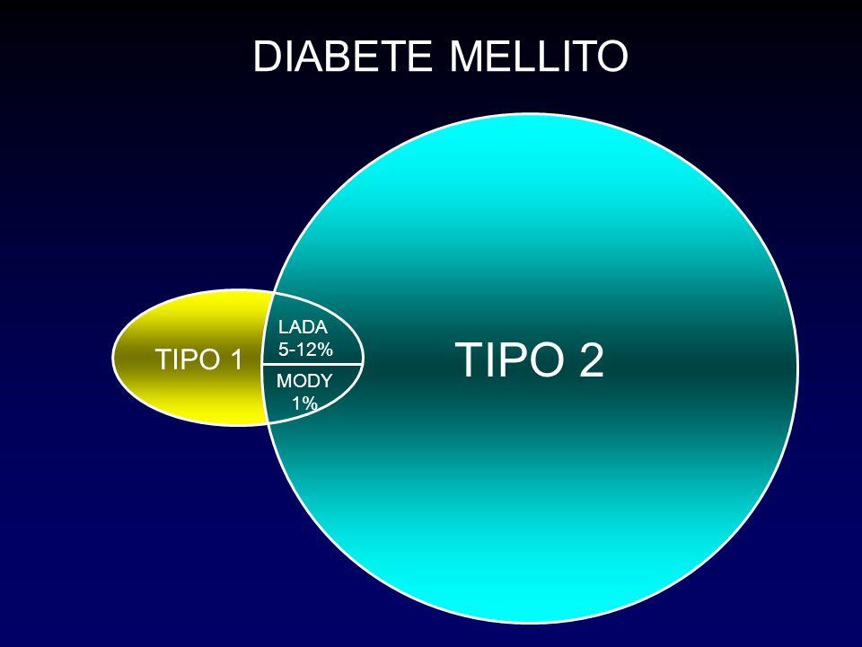 DIABETE TIPO 1 TIPO 2 DIABETE MELLITO LADA 5-12% MODY 1% TIPO 2