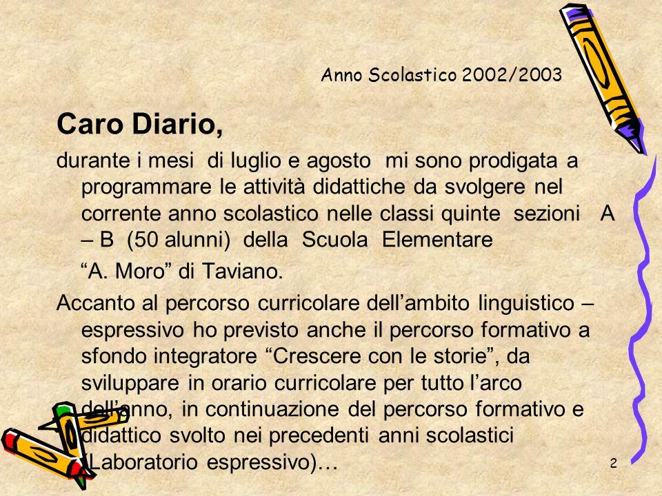 2 Anno Scolastico 2002/2003 Caro Diario, durante i mesi di luglio e agosto mi sono prodigata a programmare le attività didattiche da svolgere nel corr
