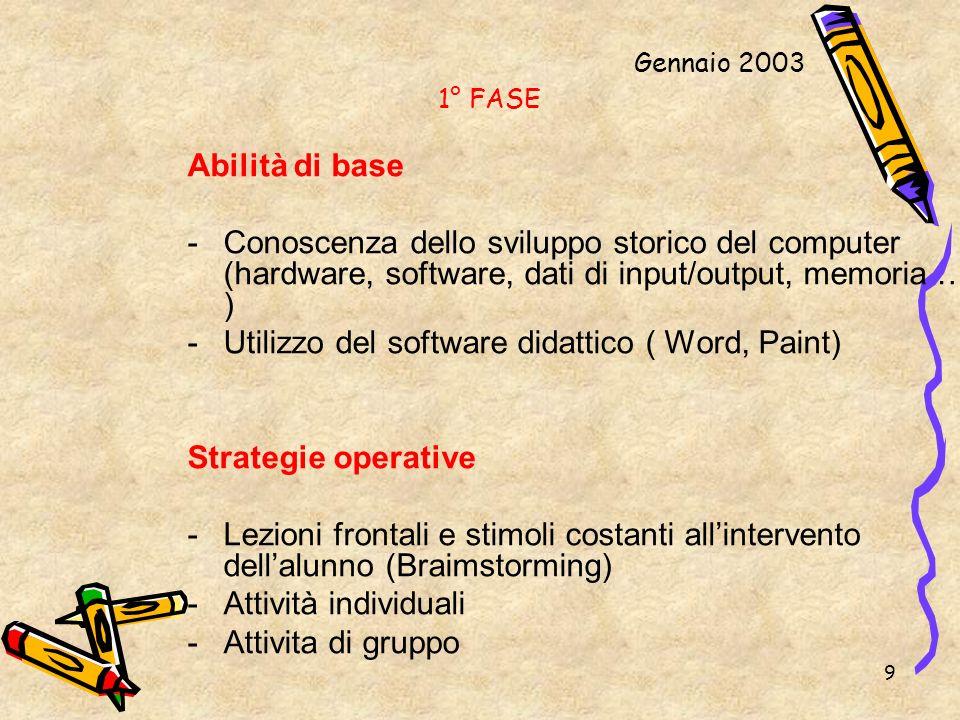 9 1° FASE Abilità di base -Conoscenza dello sviluppo storico del computer (hardware, software, dati di input/output, memoria … ) -Utilizzo del softwar