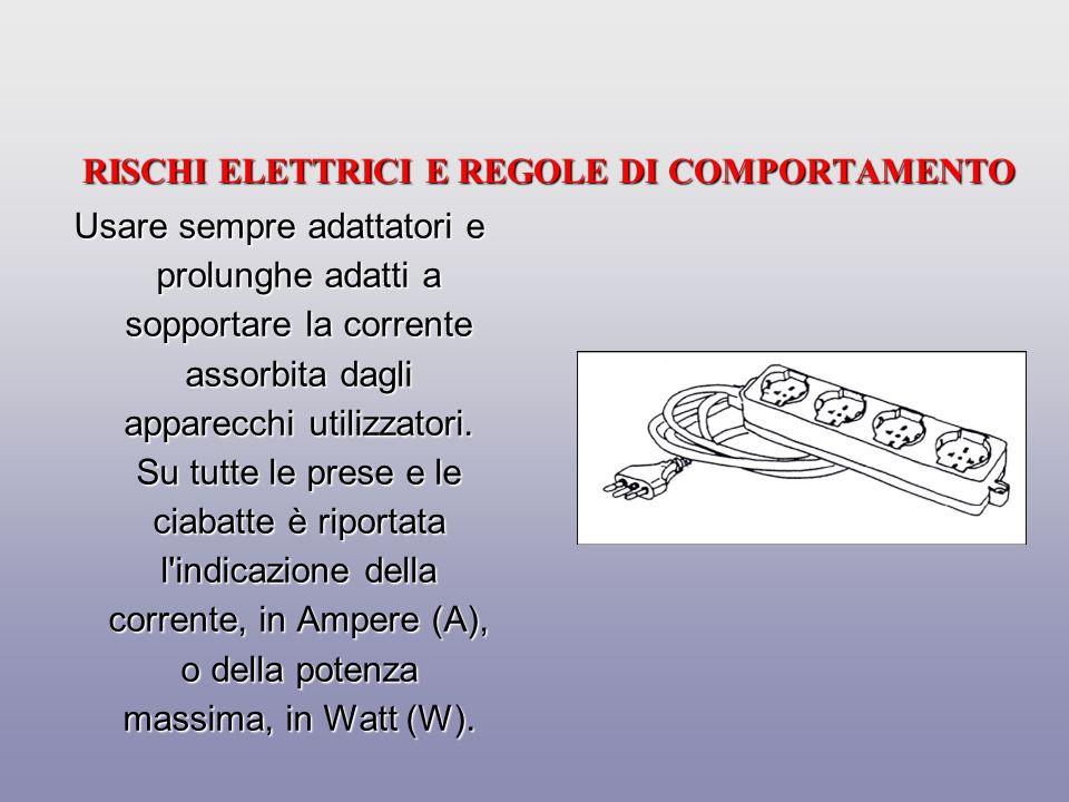 RISCHI ELETTRICI E REGOLE DI COMPORTAMENTO Per qualsiasi intervento sull impianto elettrico chiedere l intervento di personale specializzato.