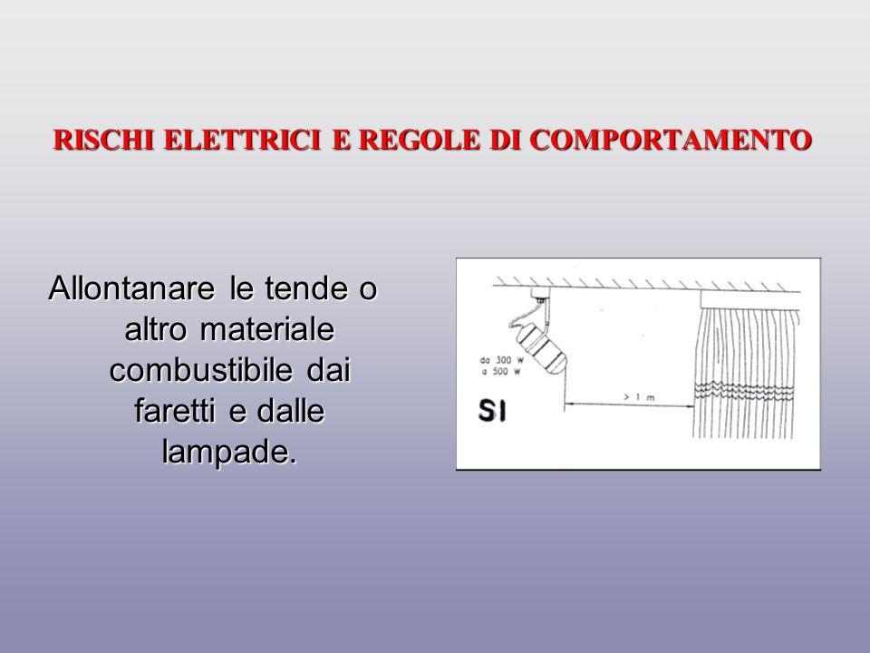 RISCHI ELETTRICI E REGOLE DI COMPORTAMENTO Utilizzare gli apparecchi elettrici attenendosi alle indicazioni fornite dal costruttore mediante il libretto di istruzione.