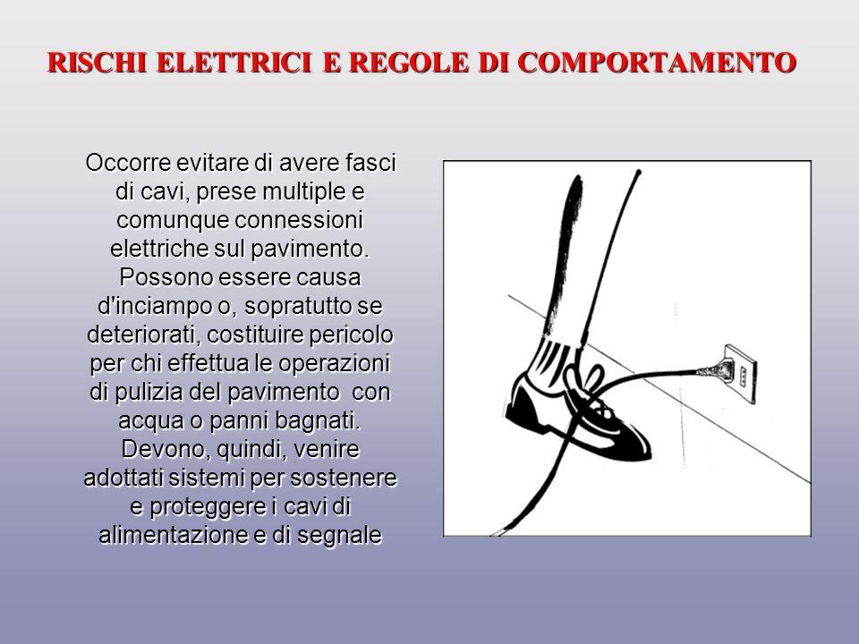 RISCHI ELETTRICI E REGOLE DI COMPORTAMENTO Prolunghe e cavi devono essere posati in modo da evitare deterioramenti per schiacciamento o taglio.