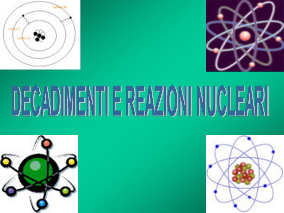 DECADIMENTO β Decadimento beta Forma di radioattività che comporta la trasformazione di un nucleo padre instabile in un nucleo figlio di numero atomico maggiore o minore di ununità, attraverso lemissione di un elettrone (o di un positrone) e di un antineutrino (o di un neutrino).
