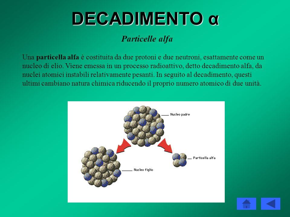 DECADIMENTO α La teoria quantistica del decadimento alfa Il decadimento alfa si può considerare un tipico esempio di effetto tunnel quantistico. La te