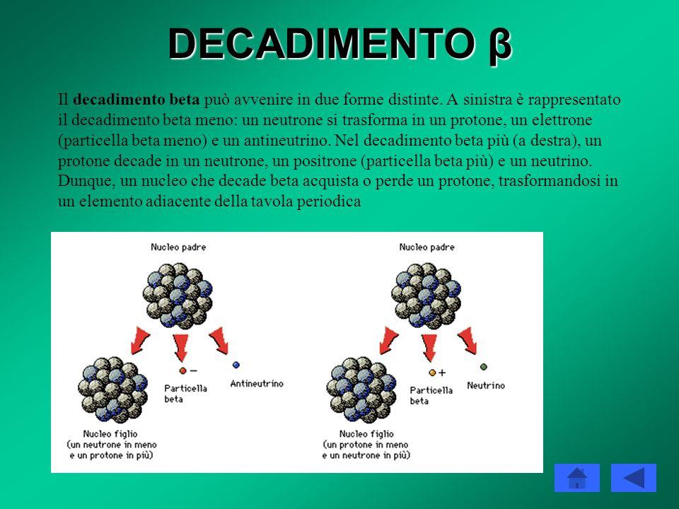 DECADIMENTO β CATTURA ELETTRONICA Esiste un terzo tipo di decadimento radioattivo che segue le stesse leggi dei due decadimenti beta descritti: la cat