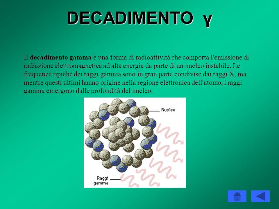 DECADIMENTO γ La maggior parte dei nuclei prodotti dalle altre forme di decadimento radioattivo sono anche emettitori gamma: questi nuclei, infatti, v