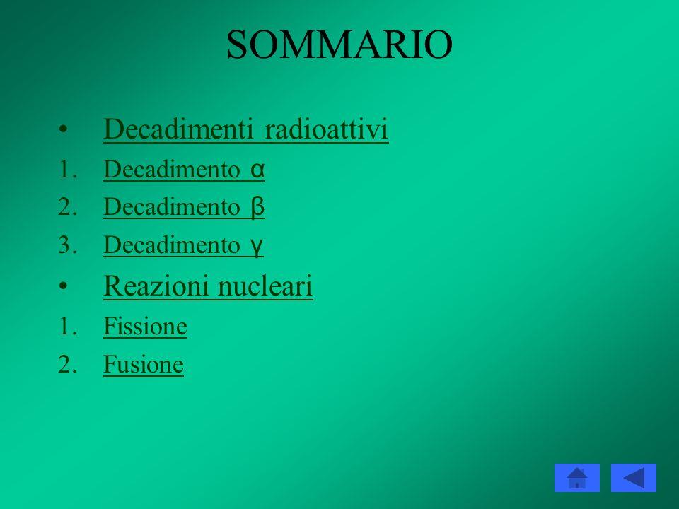 SOMMARIO Decadimenti radioattivi 1.Decadimento αDecadimento α 2.Decadimento βDecadimento β 3.Decadimento γDecadimento γ Reazioni nucleari 1.FissioneFissione 2.FusioneFusione