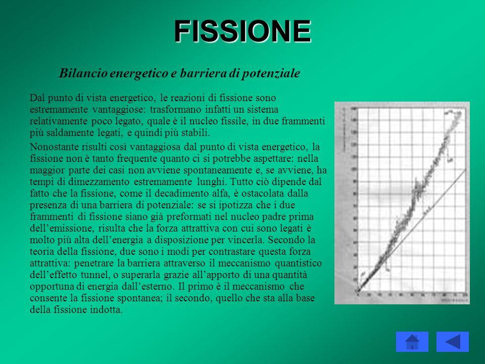 FISSIONE Caratteristiche generali I nuclei che vanno incontro a fissione, spontanea o indotta, sono gli isotopi degli elementi più pesanti della tavol
