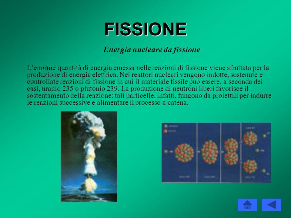 FISSIONE Bilancio energetico e barriera di potenziale Dal punto di vista energetico, le reazioni di fissione sono estremamente vantaggiose: trasforman