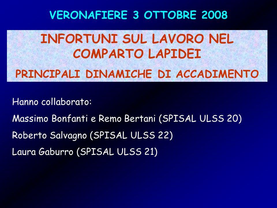 VERONAFIERE 3 OTTOBRE 2008 INFORTUNI SUL LAVORO NEL COMPARTO LAPIDEI PRINCIPALI DINAMICHE DI ACCADIMENTO Hanno collaborato: Massimo Bonfanti e Remo Bertani (SPISAL ULSS 20) Roberto Salvagno (SPISAL ULSS 22) Laura Gaburro (SPISAL ULSS 21)