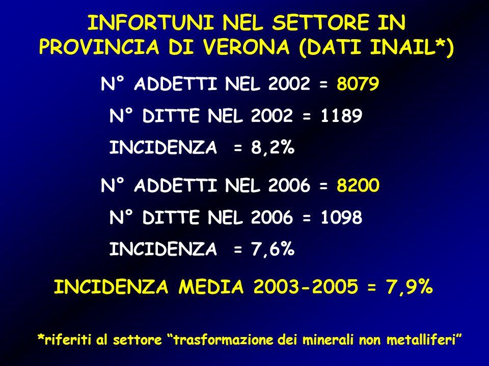 INFORTUNI NEL SETTORE IN PROVINCIA DI VERONA (DATI INAIL*) N° ADDETTI NEL 2002 = 8079 N° DITTE NEL 2002 = 1189 INCIDENZA = 8,2% N° ADDETTI NEL 2006 = 8200 N° DITTE NEL 2006 = 1098 INCIDENZA = 7,6% INCIDENZA MEDIA 2003-2005 = 7,9% *riferiti al settore trasformazione dei minerali non metalliferi
