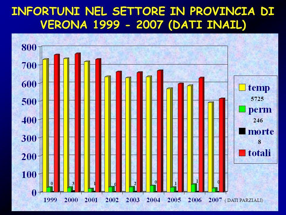 INFORTUNI NEL SETTORE IN PROVINCIA DI VERONA 1999 - 2007 (DATI INAIL) 031 0 2 0 1 1 0 5725 246 8 ( DATI PARZIALI)