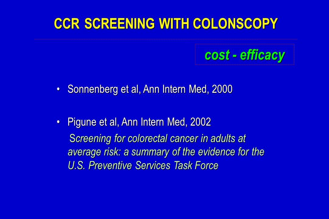 CCR SCREENING WITH COLONSCOPY cost - efficacy Sonnenberg et al, Ann Intern Med, 2000Sonnenberg et al, Ann Intern Med, 2000 Pigune et al, Ann Intern Me