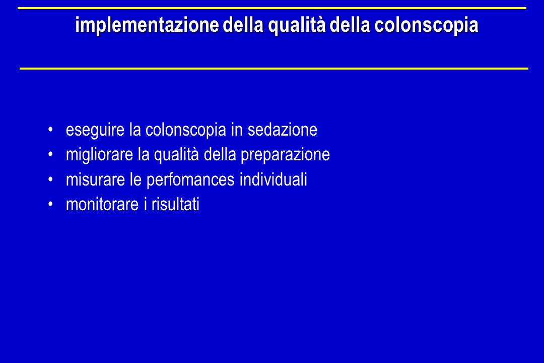 implementazione della qualità della colonscopia eseguire la colonscopia in sedazione migliorare la qualità della preparazione misurare le perfomances