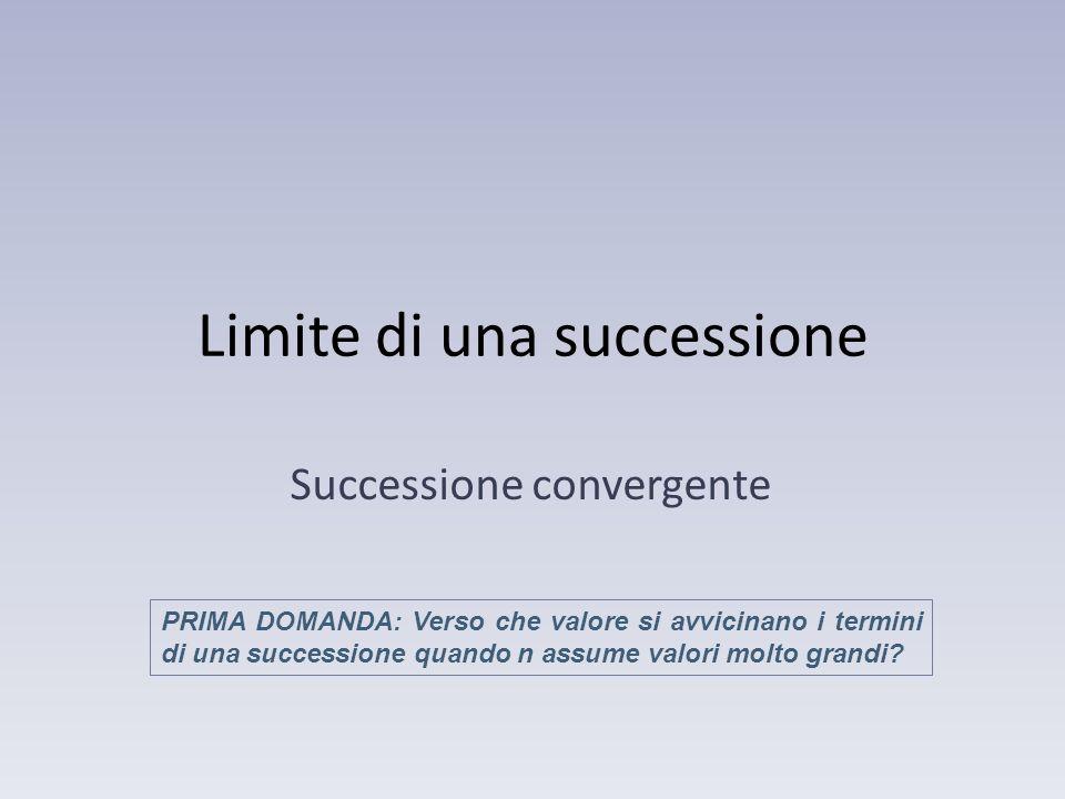 Limite di una successione Successione convergente PRIMA DOMANDA: Verso che valore si avvicinano i termini di una successione quando n assume valori mo