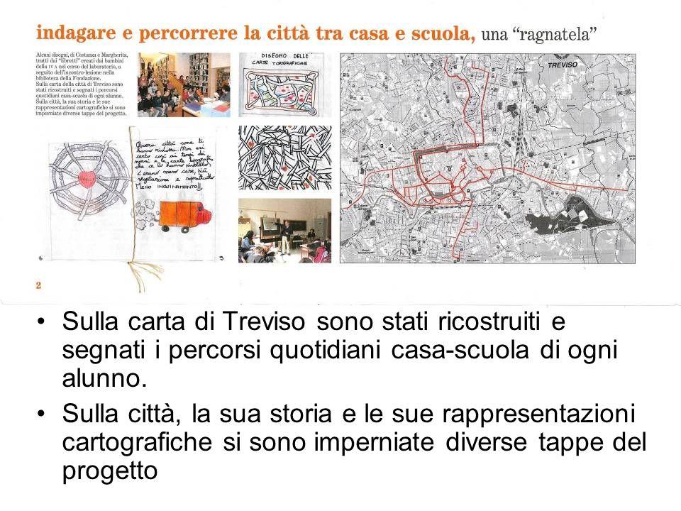 Sulla carta di Treviso sono stati ricostruiti e segnati i percorsi quotidiani casa-scuola di ogni alunno. Sulla città, la sua storia e le sue rapprese