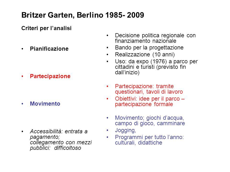 Britzer Garten, Berlino 1985- 2009 Criteri per lanalisi Pianificazione Partecipazione Movimento Accessibilità: entrata a pagamento; collegamento con m