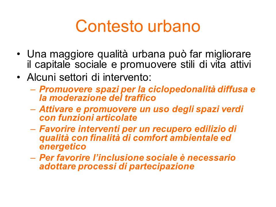 Contesto urbano Una maggiore qualità urbana può far migliorare il capitale sociale e promuovere stili di vita attivi Alcuni settori di intervento: –Pr