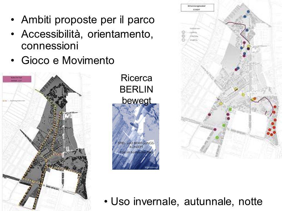 Ambiti proposte per il parco Accessibilità, orientamento, connessioni Gioco e Movimento Uso invernale, autunnale, notte Ricerca BERLIN bewegt