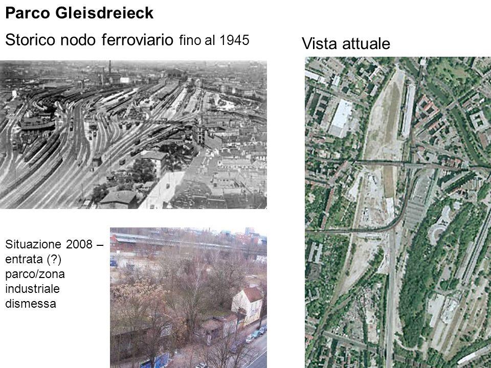 Storico nodo ferroviario fino al 1945 Vista attuale Parco Gleisdreieck Situazione 2008 – entrata (?) parco/zona industriale dismessa