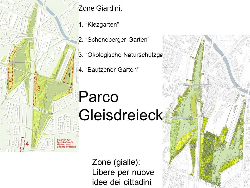 Zone Giardini: 1. Kiezgarten 2. Schöneberger Garten 3. Ökologische Naturschutzgärten 4. Bautzener Garten Parco Gleisdreieck Zone (gialle): Libere per